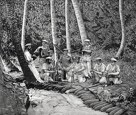Samoa - German sailors filling the grenades