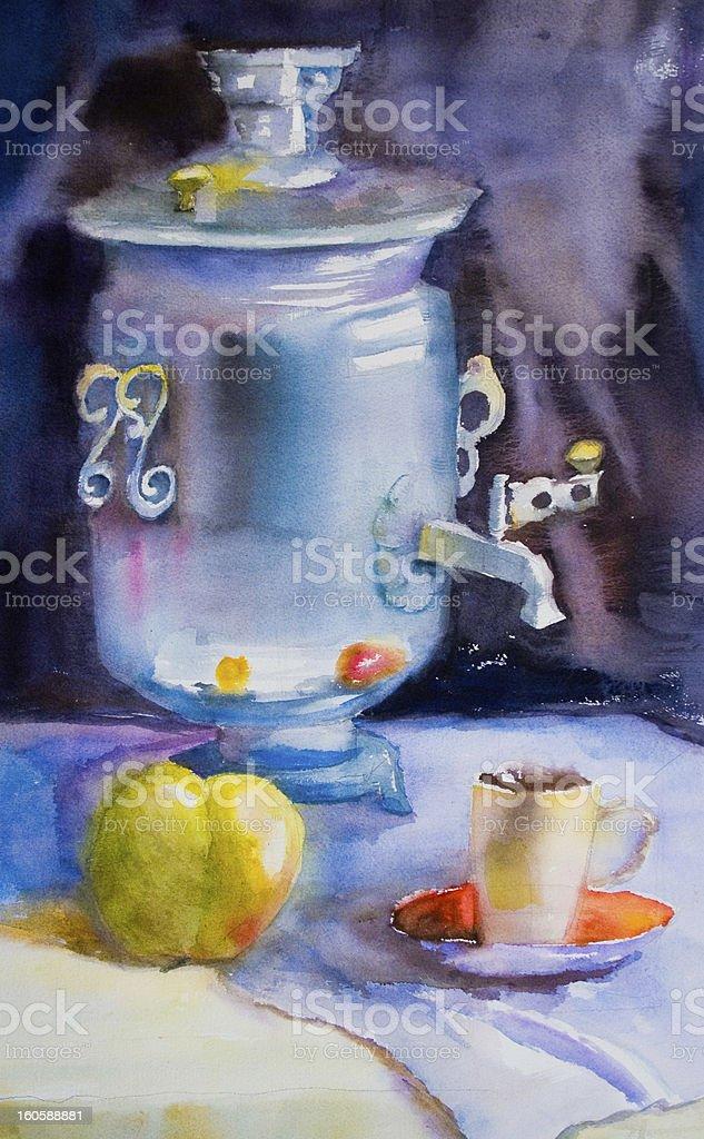 Samovar with a cup of tea royalty-free stock vector art