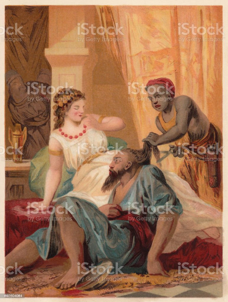 samson and delilah chromolithograph published in 1886 stock vector