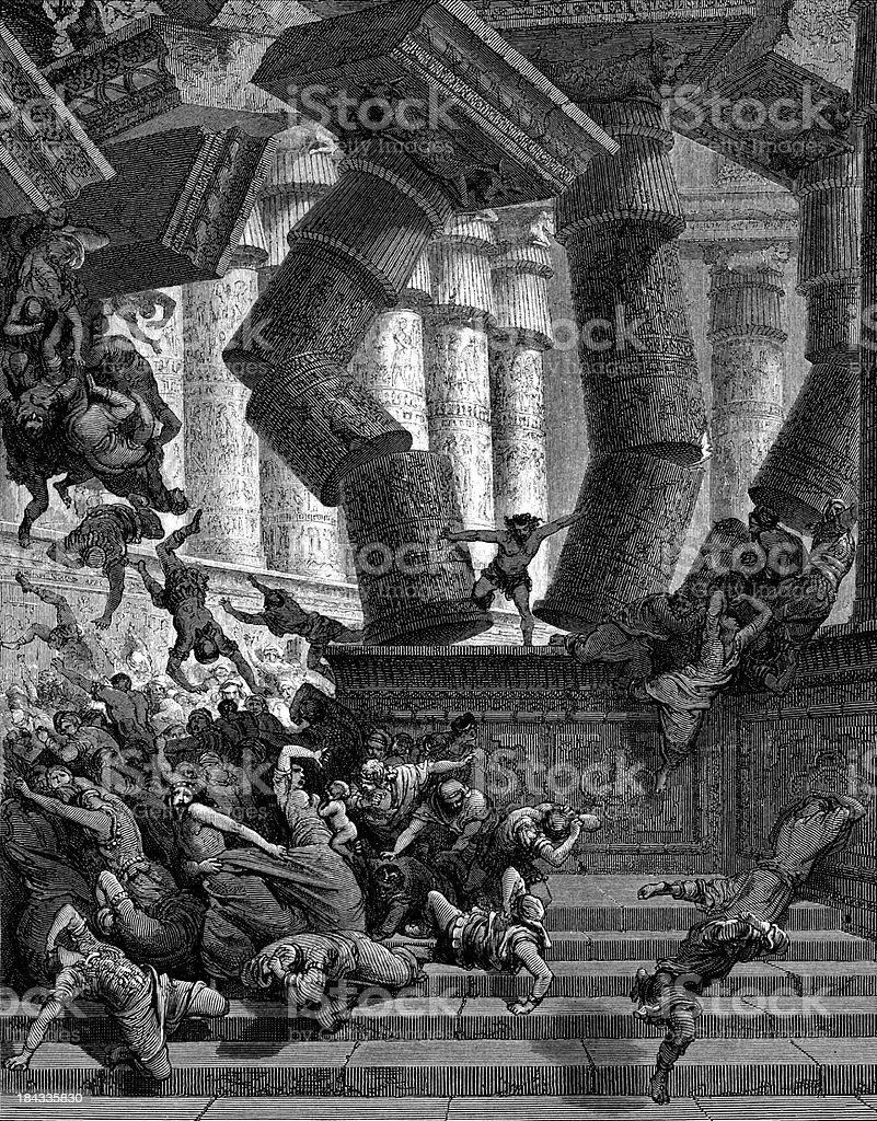 Samson destroys the temple vector art illustration