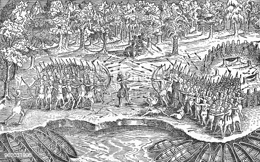 Samuel Champlain's sketch of his first encounter with Iroquois and Algonquian people of Canada near Lake Champlain from 1609. Vintage etching circa late 19th century.