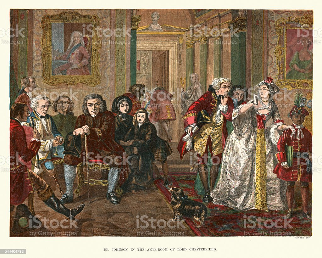 Samuel Johnson in the ante-room of Lord Chesterfield vector art illustration