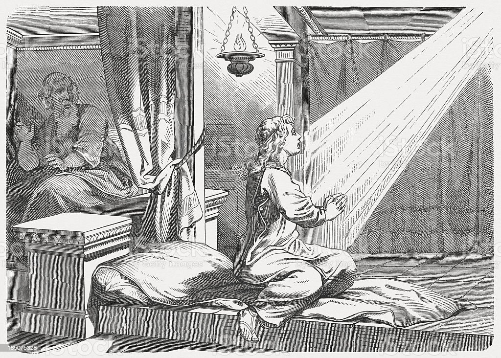 Samuel's first revelation of the Lord (1 Samuel 3) royalty-free samuels first revelation of the lord stock vector art & more images of art