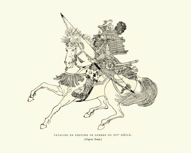 Samurai cavalry carrying a bow, Mounted archer, 16th Century vector art illustration