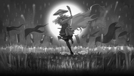 Samurai With Katana and An Army Behind Of Him Illustration