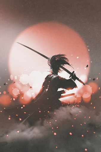 samurai with sword standing on sunset background