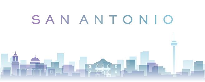 San Antonio Transparent Layers Gradient Landmarks Skyline