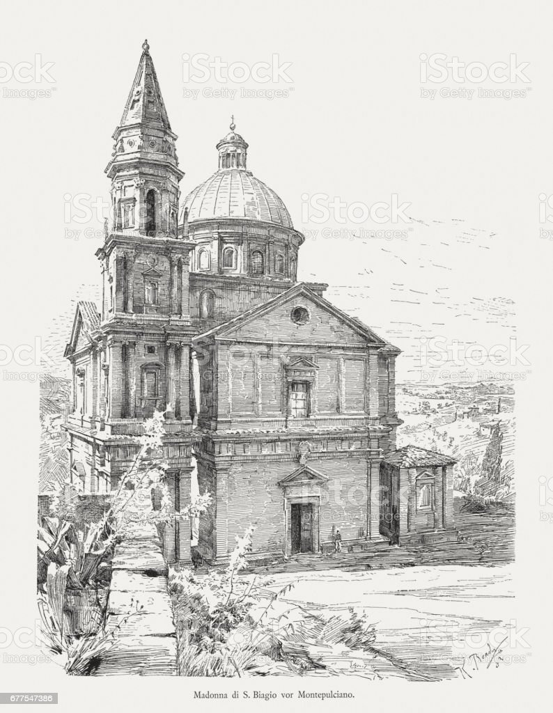 San Biagio near Montepulciano, Tuscany, Italy, wood engraving, published 1884 royalty-free san biagio near montepulciano tuscany italy wood engraving published 1884 stock vector art & more images of architecture