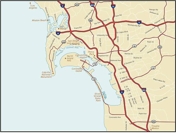 San Deigo California Map vector art illustration