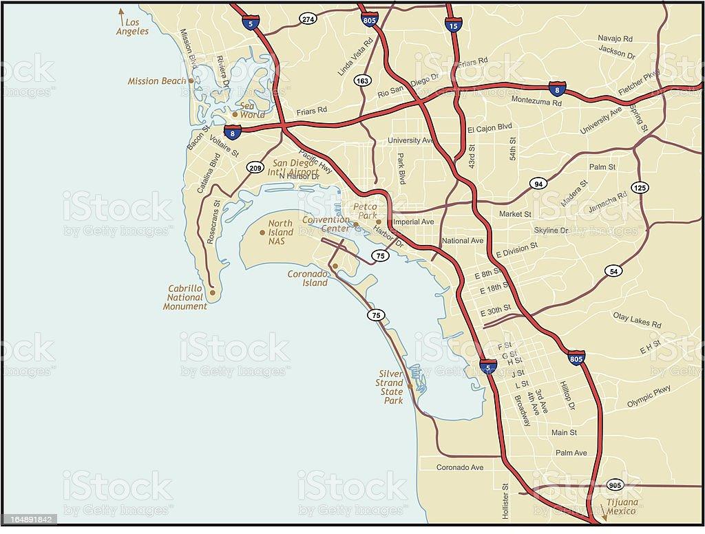Mapa de San Diego, California - ilustración de arte vectorial