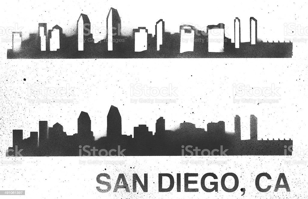 san diego skyline stencil royaltyfree stock vector art