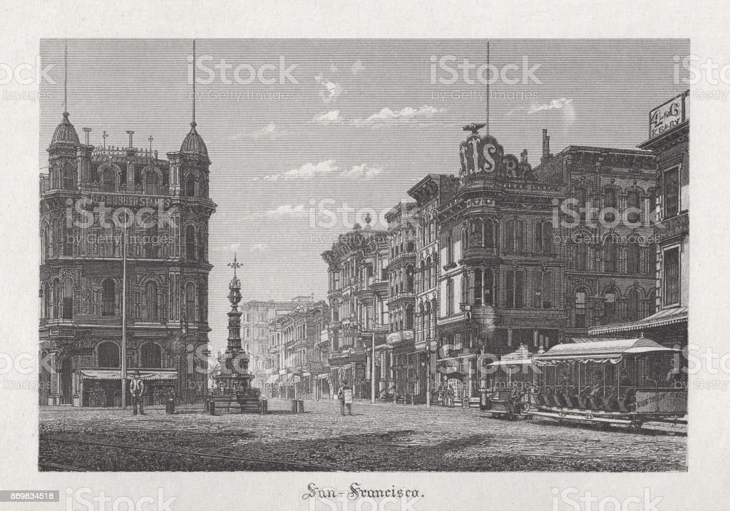 San Francisco California Usa Steel Engraving Published In