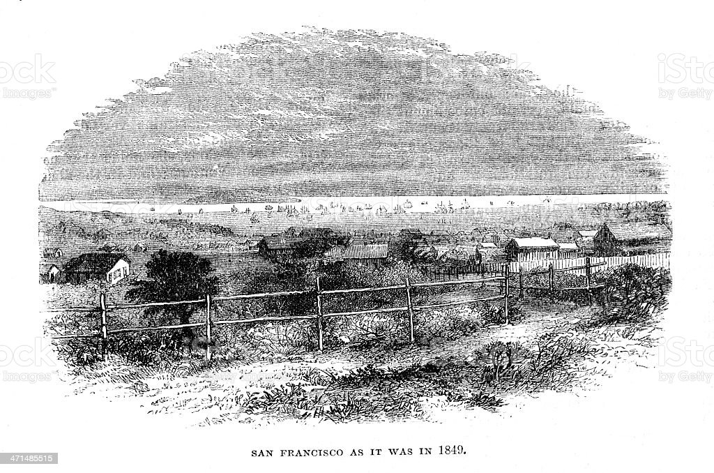 San Francisco in 1849 USA from 1880 journal royalty-free san francisco in 1849 usa from 1880 journal stock vector art & more images of 19th century style