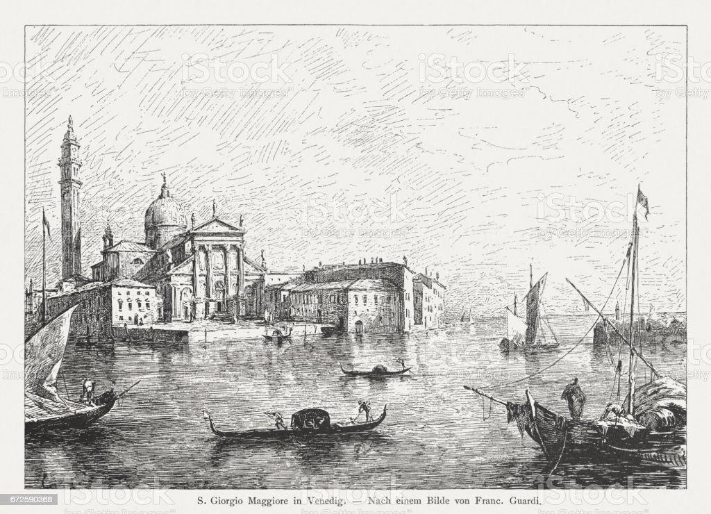 San Giorgio Maggiore, Venice, Italy, painted (1780) by Francesco Guardi vector art illustration