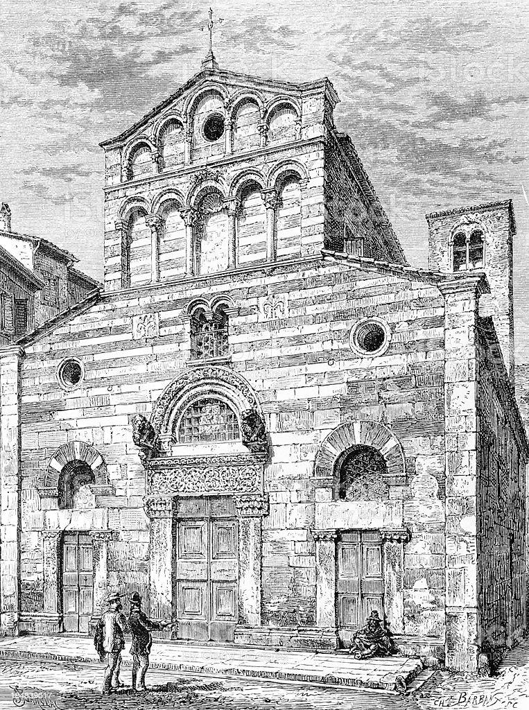 San Giusto church in Lucca royalty-free stock vector art