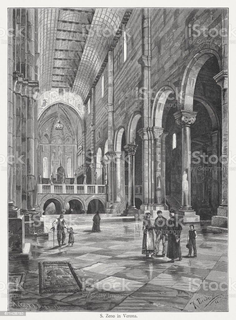 San Zeno in Verona, Italy, interior, wood engraving, published 1884 vector art illustration