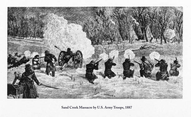 Sand Creek Massacre by U.S. Army Troops Engraving, 1887 Beautifully Illustrated Antique Engraved Victorian Illustration of Sand Creek Massacre by U.S. Army Troops Engraving, 1887. Source: Original edition from my own archives. Copyright has expired on this artwork. Digitally restored. mass murder stock illustrations
