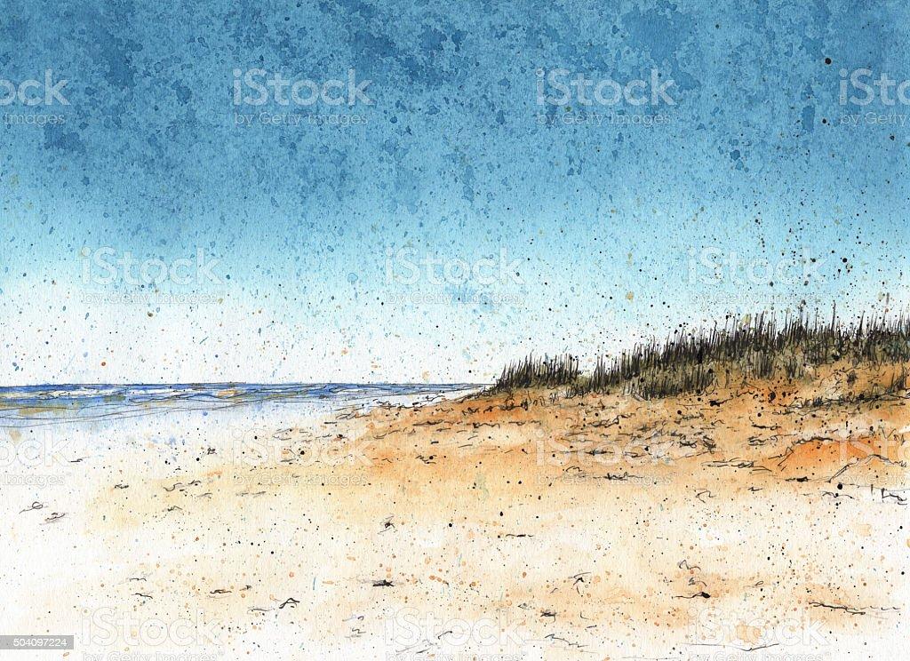 Sand dunes at the beach vector art illustration