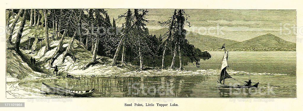 Sand Point, Little Tupper Lake, New York vector art illustration