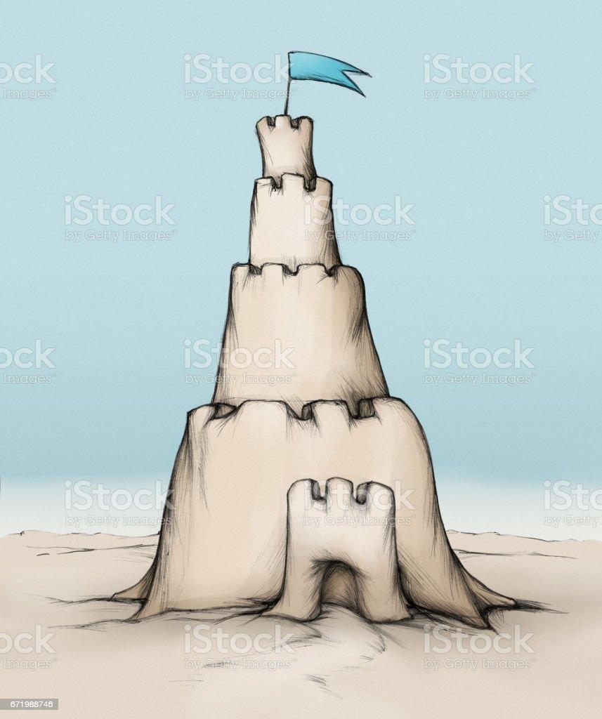 Sandburg mit einem hohen Turm – Vektorgrafik