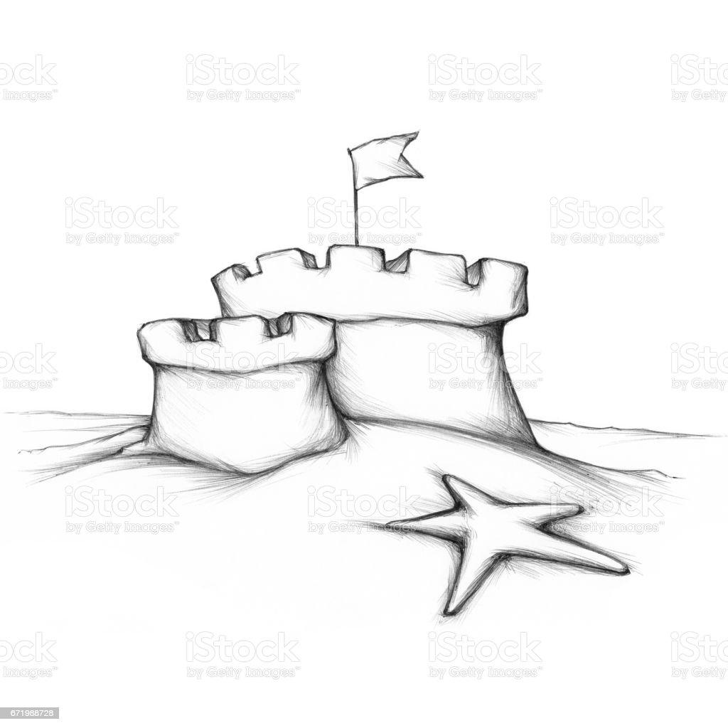 Sandburg mit zwei flachen Türmen – Vektorgrafik