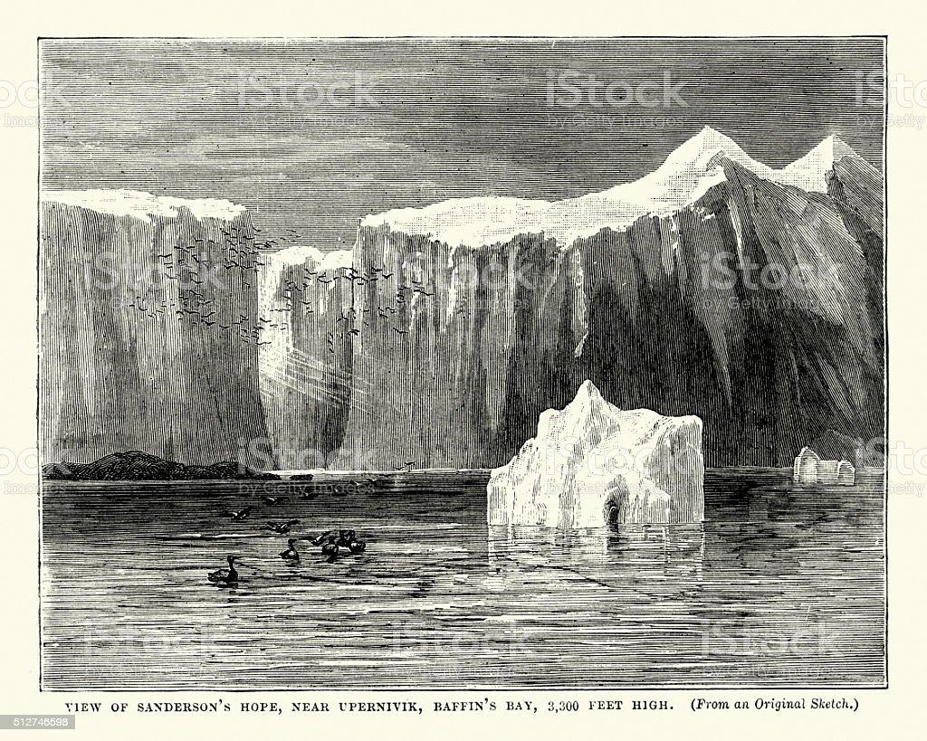Sanderson's Hope, near Upernivik, Baffin's Bay vector art illustration