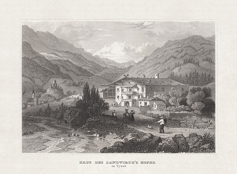 Sandhof in St. Leonhard, Tyrol, steel engraving, published in 1857