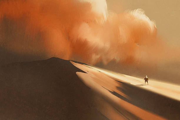 sandstorm in desert and hiking man vector art illustration