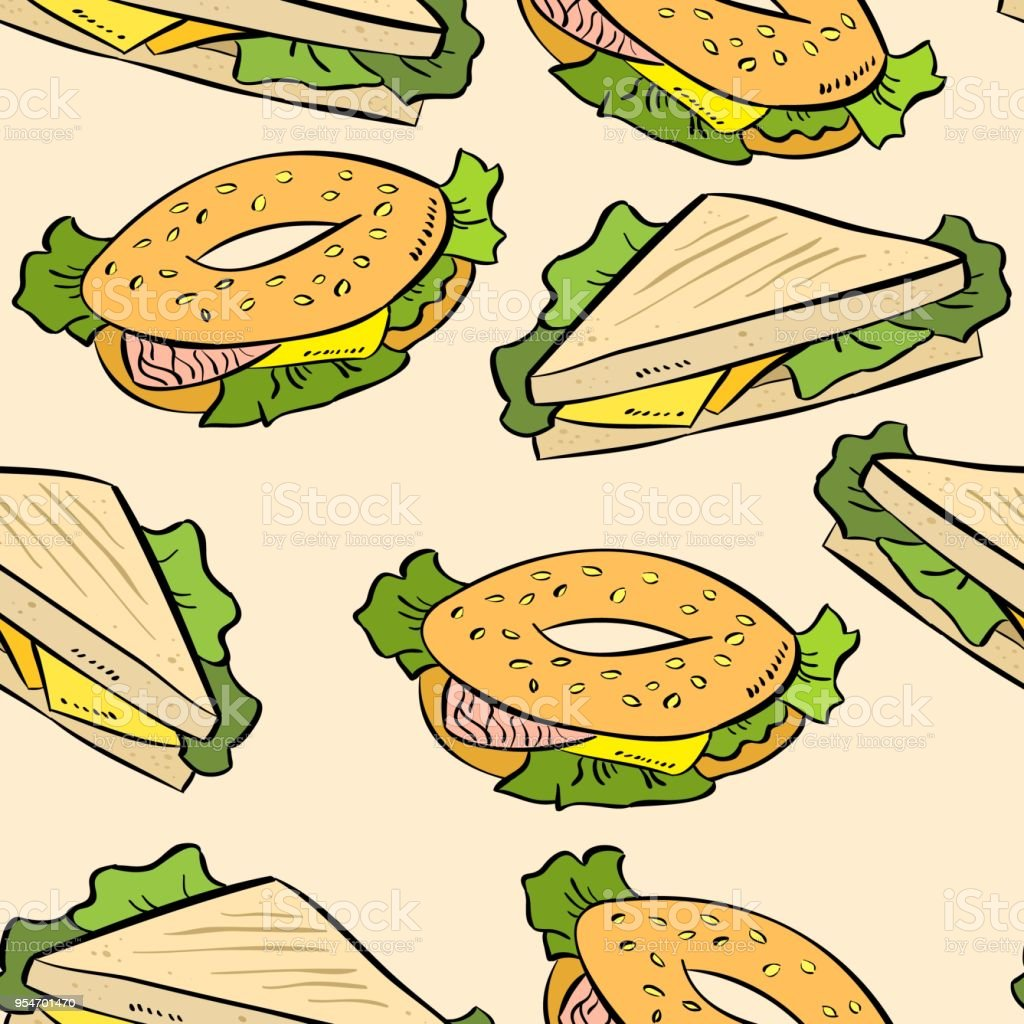 Sandwich colorful doodles pattern vector art illustration