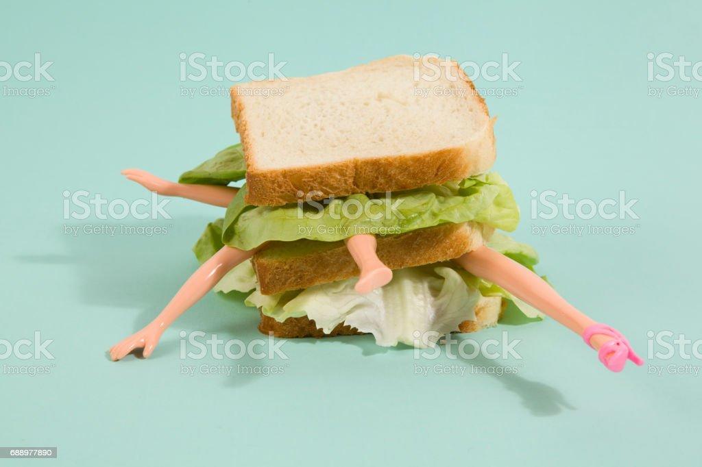 sandwich doll vector art illustration