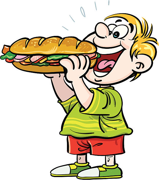 Royalty Free Boy Eating Sandwich Clip Art, Vector Images ...