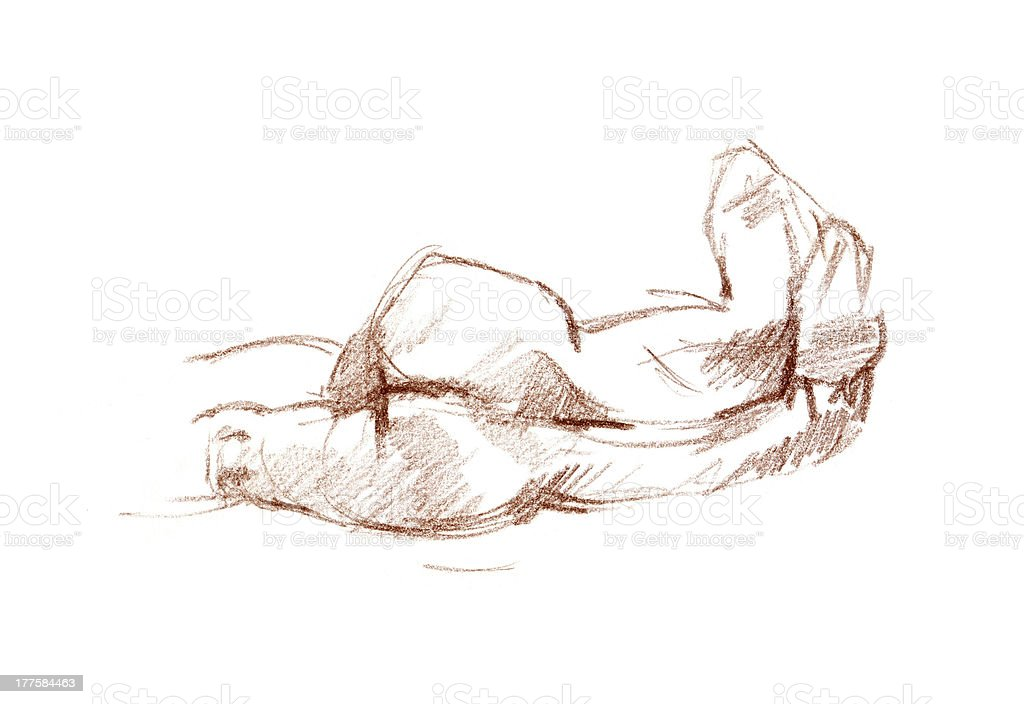 Sanguine sketch of the woman body vector art illustration