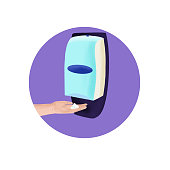Sanitation station for cleaning of hands illustration. Infection prevention concept.