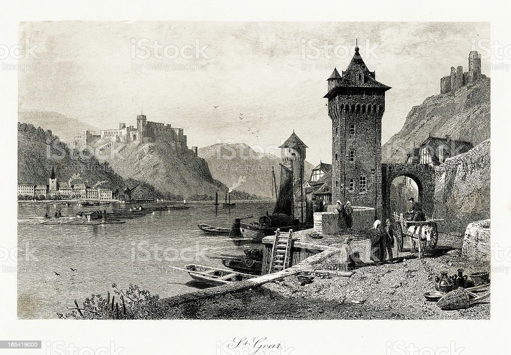 Sankt Goar, Germany royalty-free sankt goar germany stock vector art & more images of 19th century