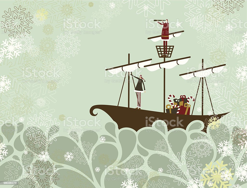 Santa and elf traveling by sea royalty-free santa and elf traveling by sea stock vector art & more images of adult