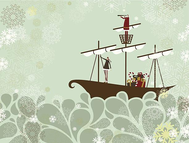 Santa and elf traveling by sea vector art illustration