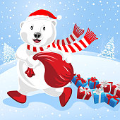 Polar bear and Christmas presents
