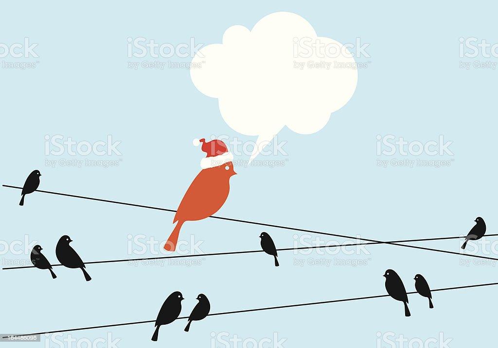 Santa bird on wire vector art illustration