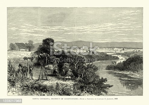 Vintage illustration of Santa Catalina, Guantanamo, Cuban, 19th Century
