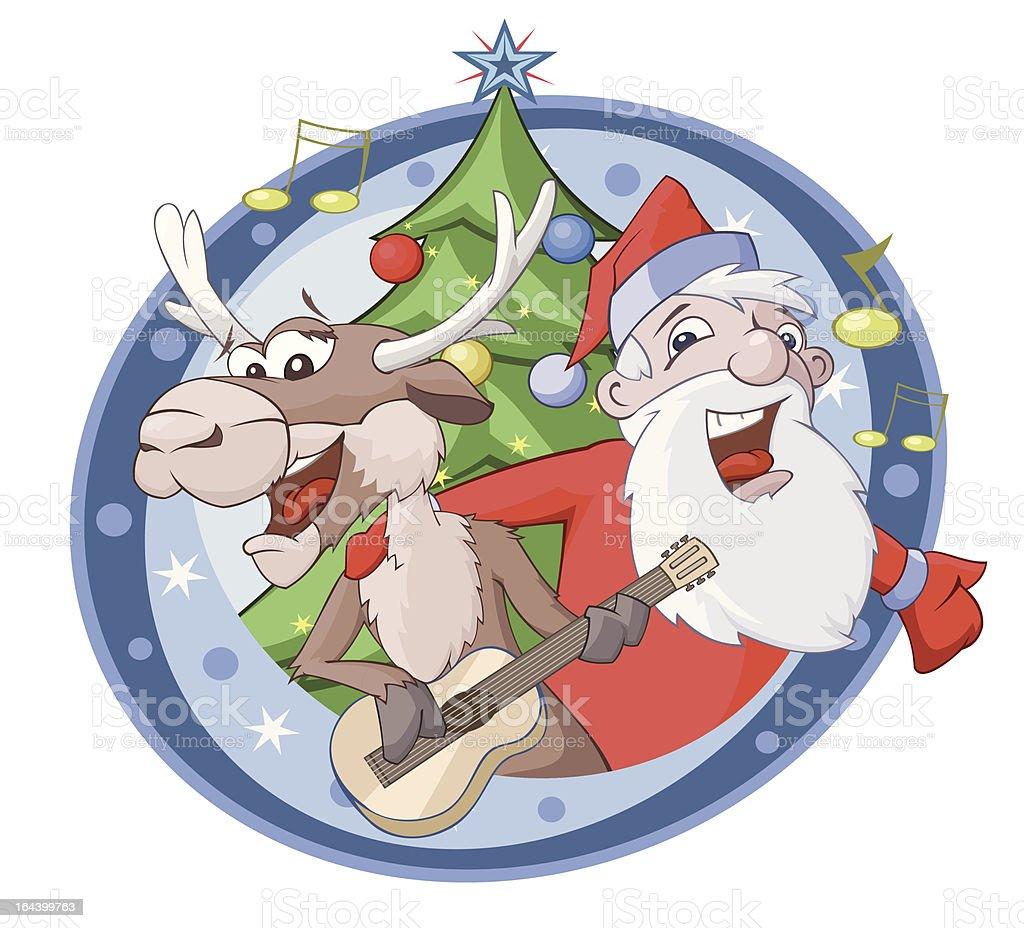 Babbo Natale Canzone.Babbo Natale E Cervi Sono Cantare Una Canzone Immagini Vettoriali