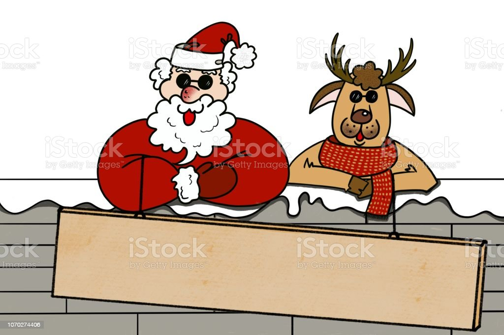 Santa Claus and reindeer wearing sunglasses on the wall behind large blank banner sign isolated white background vector art illustration