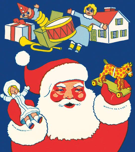 Santa Claus and Toys Santa Claus and Toys dollhouse stock illustrations