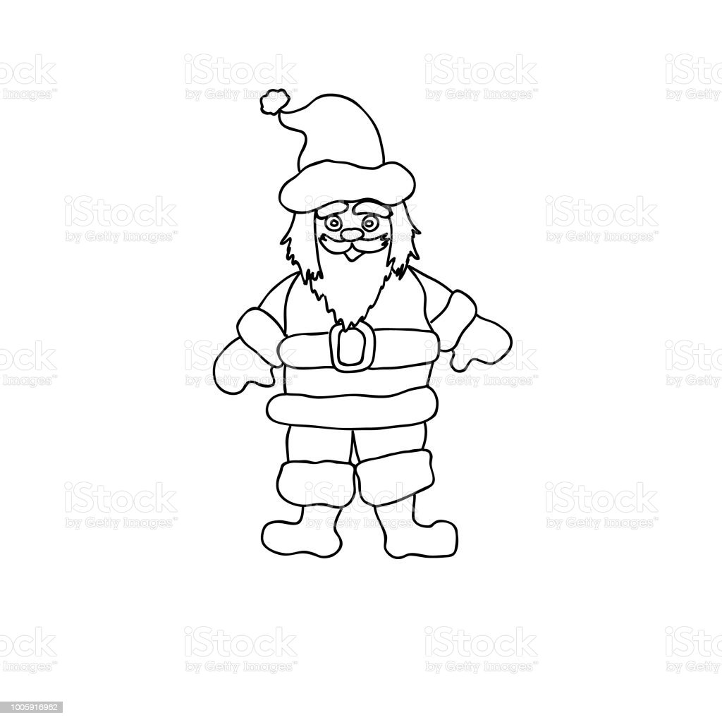 Noel Baba Cocuk Sayfa Satir Resmi Beyaz Izole Boyama Stok Vektor
