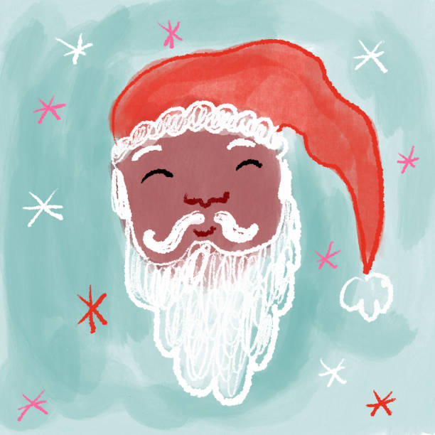 Santa Claus drawing Santa claus drawing on blue background kathrynsk stock illustrations
