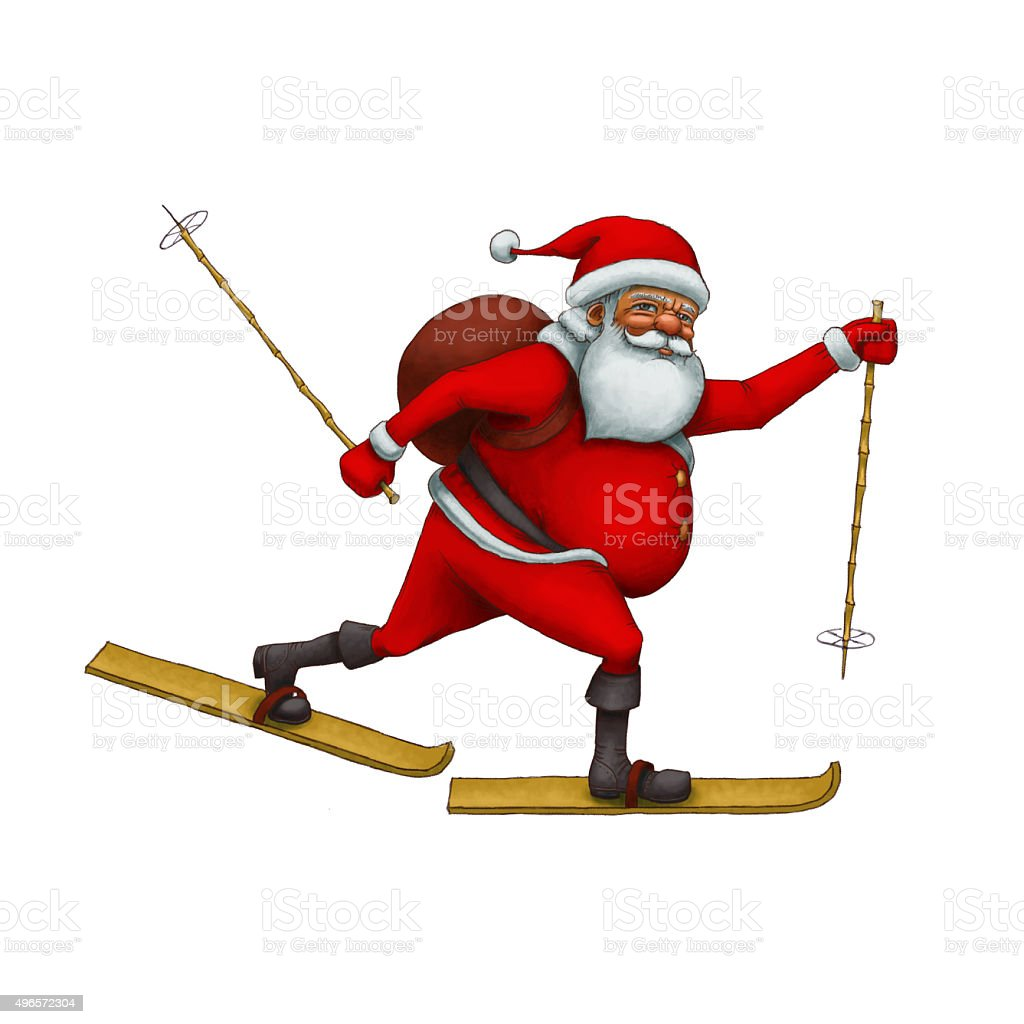 Santa Claus hurry to skiing vector art illustration