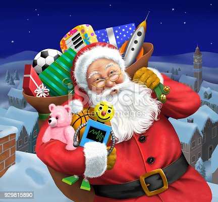 Santa on the rooftop, near a chimney with his bag of toys.