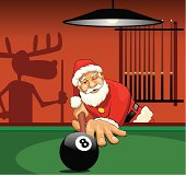 Santa Claus is playing pool
