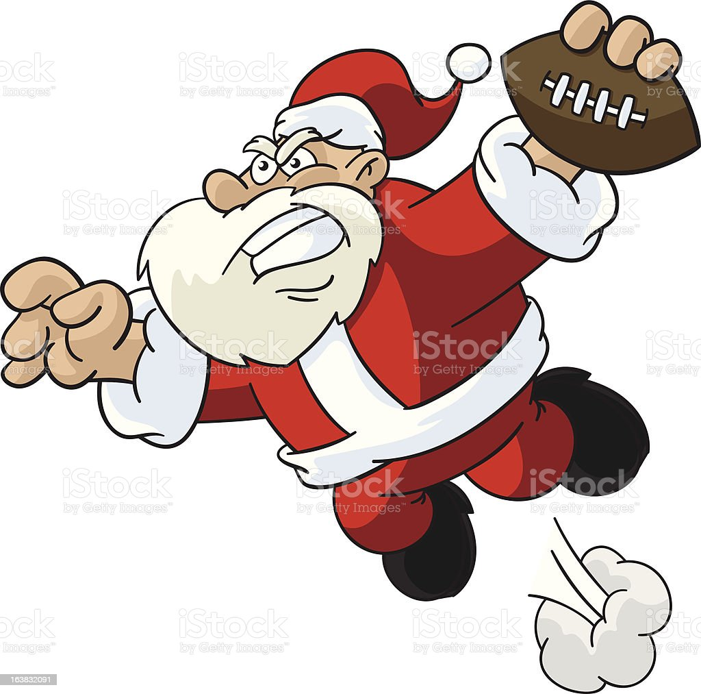 Santa Claus Jumping For Touchdown royalty-free santa claus jumping for touchdown stock vector art & more images of american football - ball