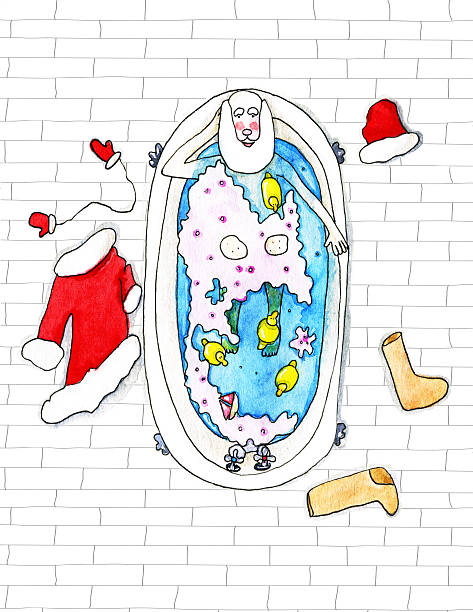 santa claus lies in the bathtube  - watercolor illustration - old man nude drawing stock illustrations