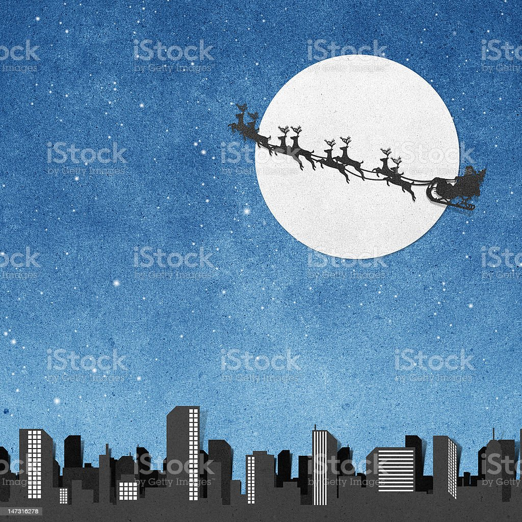 Santa Claus On Sledge With Deer And Moon recycled papercraft royalty-free santa claus on sledge with deer and moon recycled papercraft stock vector art & more images of art